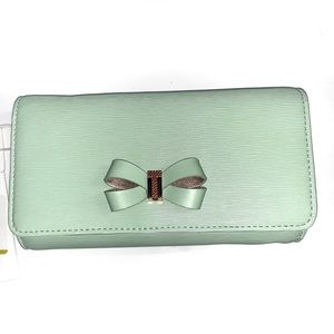 TED BAKER Melisia Mint Green Leather Clutch NWT